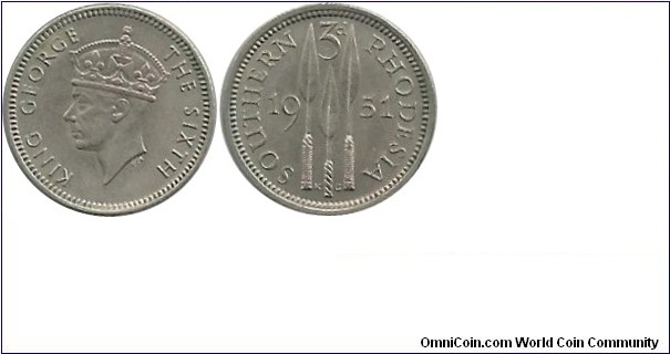 Southern Rhodesia  3 Pence 1951