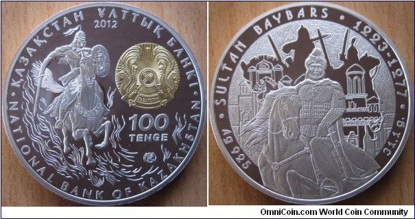 100 Tenge - Sultan Baybars - 31.1 g Ag .925 Proof (partially gilded) - mintage 15,000