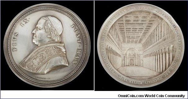 1854 Vaticon The Consecration of Saint Paul Basilica Outside the Walls by Ignazio Bianchi. Silver: 82MM./280 gms.