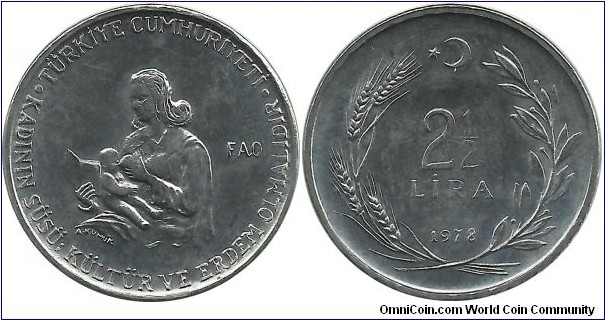 Turkey 2½ Lira 1978-FAO