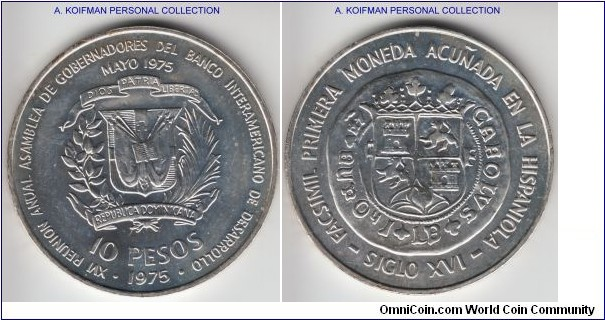 KM-37, 1975 Dominican Republic 10 pesos; silver, lettered edge; International Bankers' Conference - First Hispaniola Coinage of Carlos and Johanna. either proof like or proof.