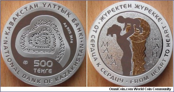 500 Tenge - Mother - 31,1 g 0.925 silver Proof (partially gilded) - mintage 5,000