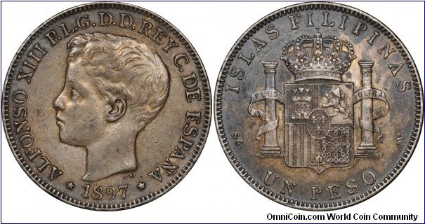 Spanish colonial, Philippines, Alfonso XIII, Silver Peso (8 Reales), 1897. KM# 154. Toned, nearly extremely fine.