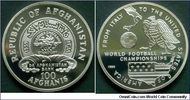 Afghanistan 100 afghanis. 1990, World Football Championships - From Italy to USA.