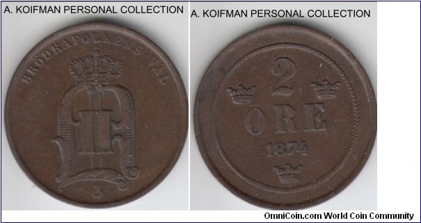 KM-735, 1874 Sweden 2 ore; bronze, plain edge; about extra fine, dark brown.