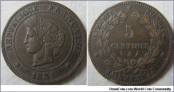 1884 A 5 centime 1,680,000 minted, VF