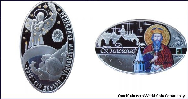 100 Denars - Angel's day - Vladimir - 28.28 g 0.925 silver Proof (with one Swarovski crystal) - mintage 5,000