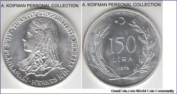 KM-929.2, 1979 Turkey 150 lira; proof, silver, lettered and ornamented edge; Anatolian bride, nice white coin, scarce mintage 2,500.