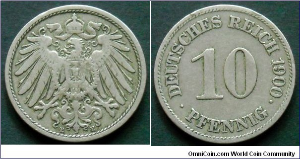 German Empire 10 pfennig. 1900 (E)
