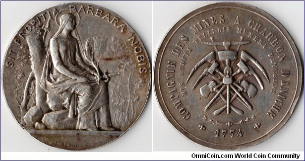 a nice example of the work of the artist and engraver Jean Baptiste Daniel-Dupuis. Silver jeton struck for the Compagnie des Mines a Charbon D'Aniche (Aniche coal mines) circa 1890.