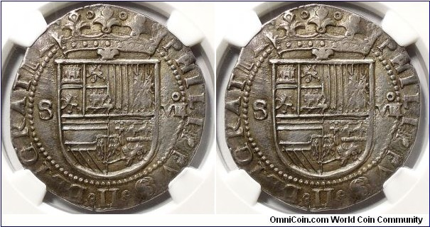 Spain, Felipe II el Prudente, cob 8 Reales, ND (1556-1598). 37mm. Sevilla (Seville) mint; mint mark: S/quadrate D. Crowned coat-of-arms; S to left; annulet over VIII (denomination) to right / Quartered arms within polylobe; quadrate D to lower right. ME# 3949. In NGC encapsulation graded XF45.