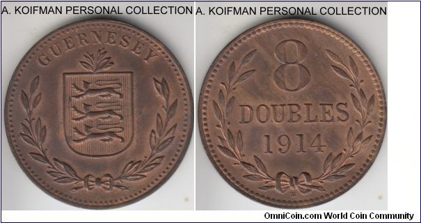 KM-14, 1914 Guernsey 8 doubles, Heaton mint (H mint mark); bronze, plain edge; red brown uncirculated.