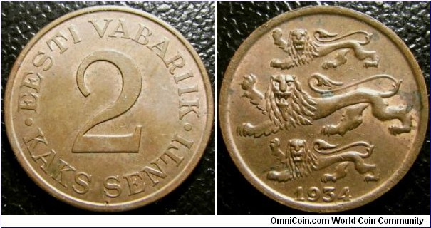 Estonia 1934 2 senti. Nice condition unfortunately with one spot of verdigris. Weight: 3.39g.