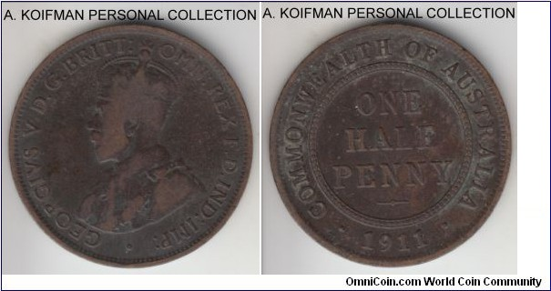 KM-22, 1911 Australia half penny, Royal Mint (London); bronze, plain edge; first year of Australia bronze mintage, very good or so.