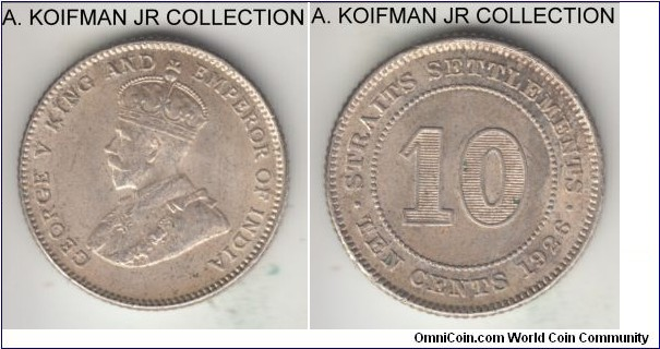 KM-29b, 1926 Straits Settlements 10 cents; silver, reeded edge; George V, last type, good fine with darker natural toning.