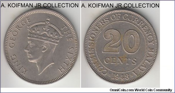 KM-9, 1948 Malaya a20 cents; copper-nickel, reeded edge; late George VI issue of the modern day Malaysia, good extra fine, a bit toned and dirty on reverse.