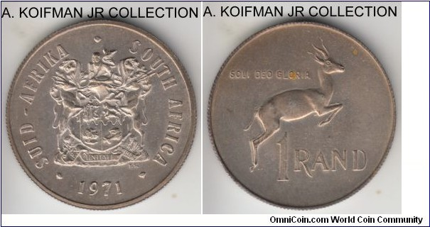 KM-88, 1971 South Africa rand; silver, reeded edge; earlier Republican coinage, only issued in proof and mint sets, mintage 20,000, mint pack toning sharp uncirculated, couple of yellow spots on reverse.