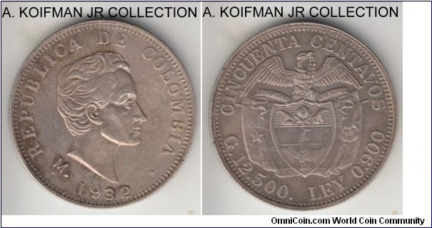 KM-193.2, 1932 Colombia 50 centavos, Medellin mint (M mint mark); silver, reeded edge; relatively large mintage, nicely toned, good extra fine.