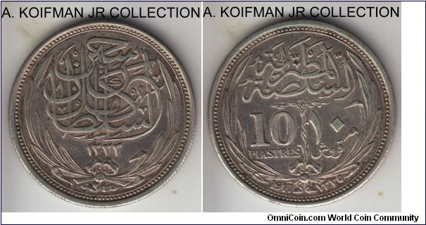 KM-319, 1917 Egypt 10 piastres; silver, reeded edge; Sultan Hussein Kamil, about extra fine.