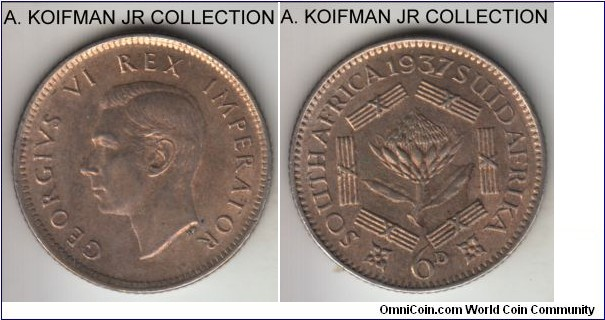 KM-27, 1937 South Africa (Dominion) 6 pence; silver, reeded edge; first year of George VI, toned extra fine or about.