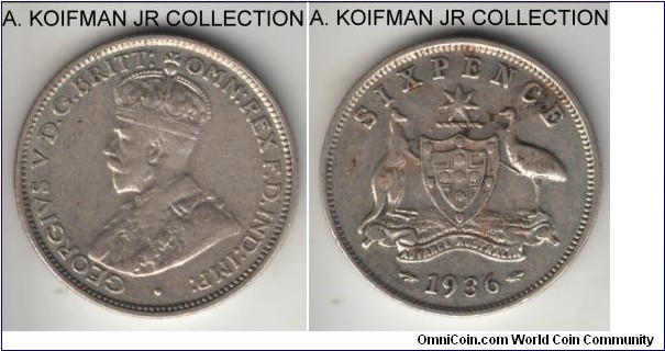 KM-25, 1936 Australia 6 pence, Melbourne mint (no mint mark); silver, reeded edge; late George V, decent circulated, very fine or so, cleaned.