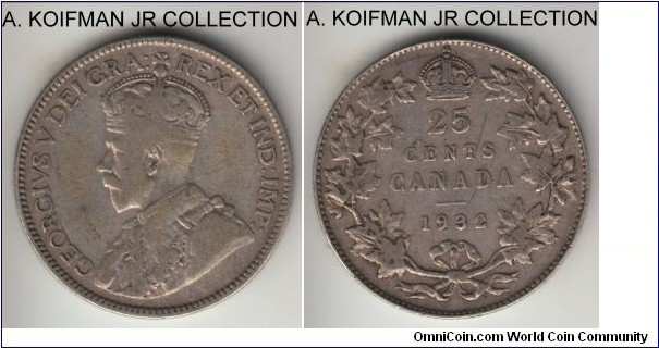 KM-24a, 1932 Canada 25 cents; silver, reeded edge; late George V, well circulated, very good or about.