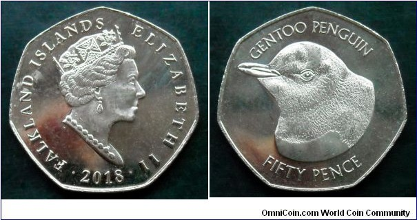 Falkland Islands 50 pence. 2018, Gentoo Penguin