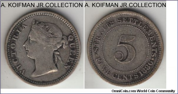 KM-10, 1886 Straits Settlements 5 cents; silver, reeded edge; Victoria, relatively large mintage of 340,000, fine details as it was cleaned.