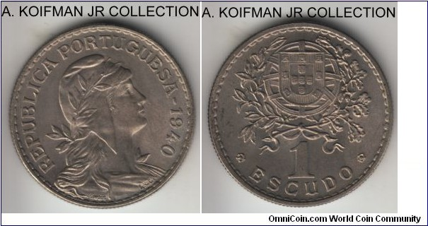 KM-578, 1940 Portugal escudo; copper-nickel, reeded edge; World War II period issue, uncirculated or almost.