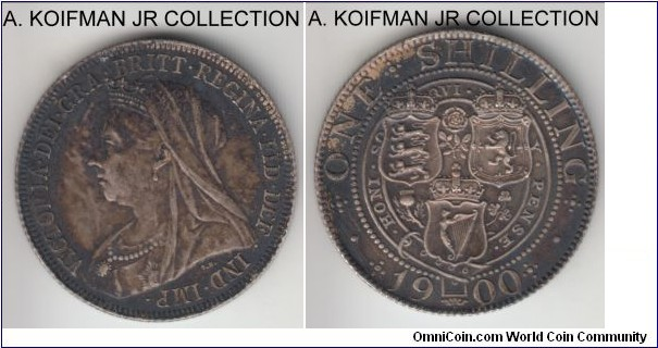 KM-780, 1900 Great Britain shilling; silver, reeded edge; last Victoria type, dark toned, good very fine to extra fine.
