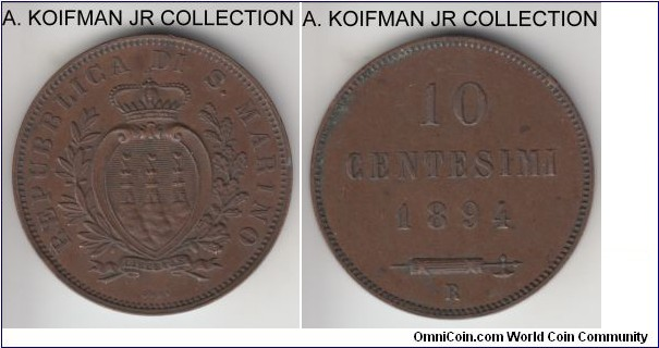 KM-2, 1894 San Marino 10 centesimi; copper, plain edge; first type, brown extra fine or almost, a tiny edge bump on reverse.