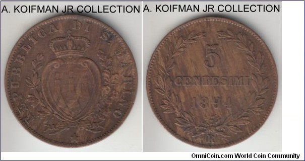 KM-1, 1894 San Marino 5 centesimi, Rome mint (R mint mark); copper, plain edge; first Republic type, very fine details, cleaned.