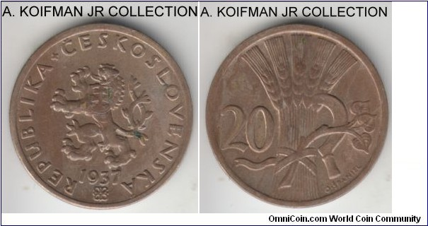 KM-1, 1937 Czechoslovakia 20 haleru; copper-nickel, plain edge; first Republican coinage, high grade, but a few spots.