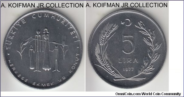 KM-911, 1977 Turkey 5 lira; stainless steel, reeded edge; FAO commemorative - Planned families, mintage 25,000, bright average uncirculated.