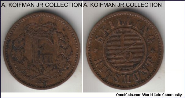 KM-767, 1857 Denmark 1/2 skilling rigsmont, Altona mint (orb mint mark); bronze, plain edge; Frederik VII, average circulated, a bit dirty very fine or so.