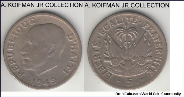 KM-57, 1949 Haiti 5 centimes, Philadelphia mint (USA); copper-nickel, plain edge; one year type, very fine or so.