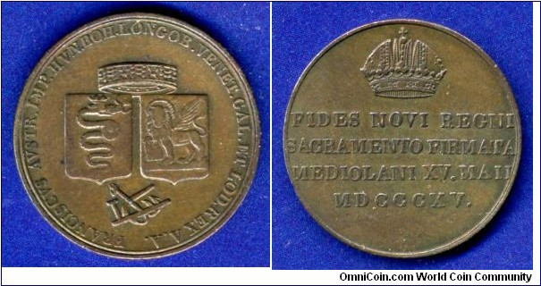 Copper coronation token for the re-coronation of Franz the First, Emperor of Austria as ruler of Northern Italy (Lombardy and Venice).