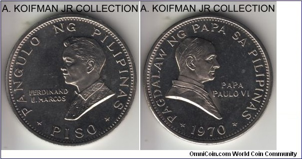 KM-202, 1970 Philippines piso; nickel, plain edge; pope Paul VI visit to Philippines commemorative issue, mintage 70,000, unusual in that the edge was smooth, proof like average uncirculated.