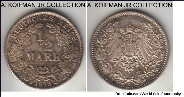 KM-17, 1918 Germany (Empire) 1/2 mark, Munich mint (D mint mark); silver, reeded edge; late Wilhelm II imperial coinage, good uncirculated, nicely toned.