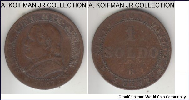 KM-1372.2, 1867 Papal States (Vatican) soldo; copper, plain edge; XXI year of Pius IX, transitional coinage to lira equivalent to 5 centisimi, small date variety, average circulated, fine or almost.