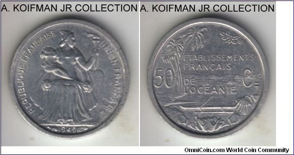 KM-1, 1949 French Oceania 50 centimes; aluminum, plain edge; French Overseas Territory, 1-year type, uncirculated, toned and a bit of aluminum rust on obverse.