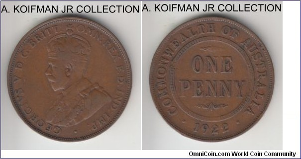 KM-23, 1922 Australia penny, Sydney or Peth mint (no mint mark); bronze, plain edge; George V, average circulated very good to fine.