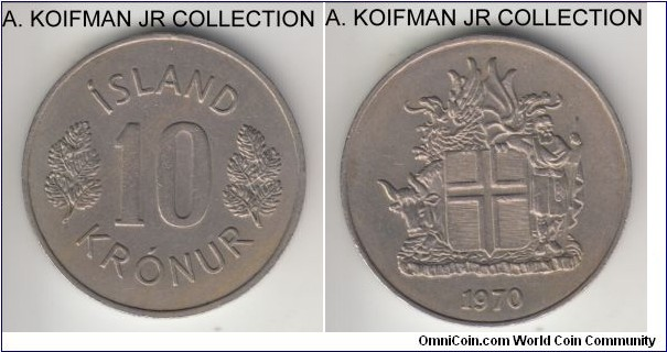 KM-15, 1970 Iceland 10 kronura; copper-nickel, plain edge; average uncirculated.