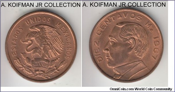KM-433, 1967 Mexico 10 centabos; bronze, plain edge; Benito Juarez, last and common year, red uncirculated.
