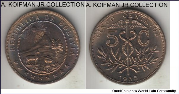 KM-178, 1935 5 centavos; copper-nickel, plain edge; 1-year type, bluish toned choice or better uncirculated.