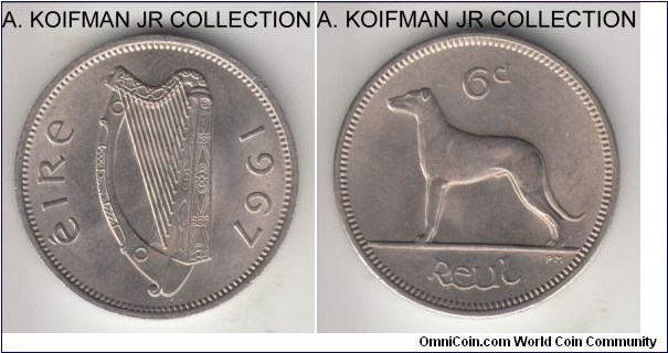 KM-13a, 1967 Ireland 6 pence; copper-nickel, plain edge; late Republican pre-decimal coinage, decent uncirculated.
