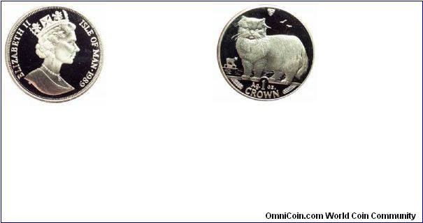 1989 Isle of Man 1oz Proof Silver Persian Cat.  pandausa.com
