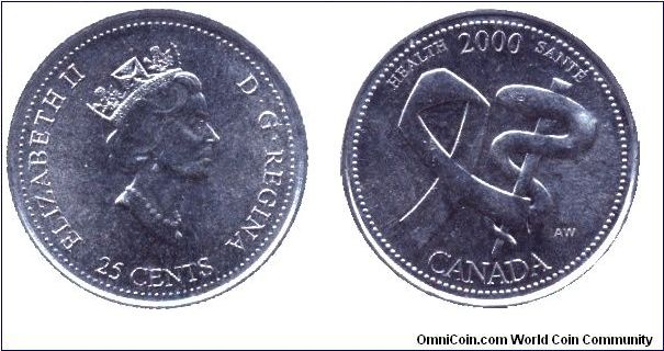 Canada, 25 cents, 2000, Ni, Health - 2000, Elizabeth II.
