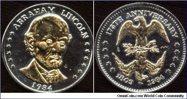 1984 Gold Plated Abraham Lincoln 175th Anniversary (1809-1984) Double Eagle Commemorative