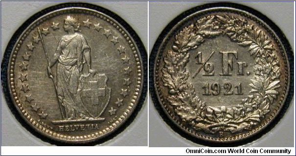 1921 Switzerland Half Franc, Cleaned.